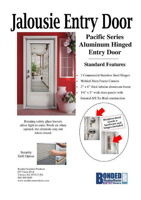 The Pacific Series Jalousie Entry Door includes tempered safety glass louvers for maximum lighting. The Atlantic Series Jalousie Entry Door includes ...  sc 1 st  Storm Doors Fiberglass u0026 Steel Entry Doors Vinyl Patio u0026 French ... & 118617906_scaled_472x668.jpg pezcame.com